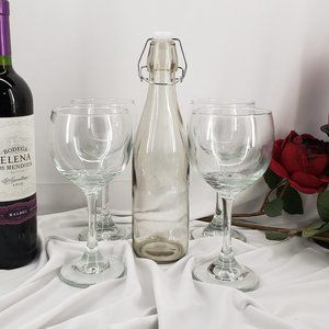 Set of 4 Cristar Wine Glasses w/ Serving Bottle